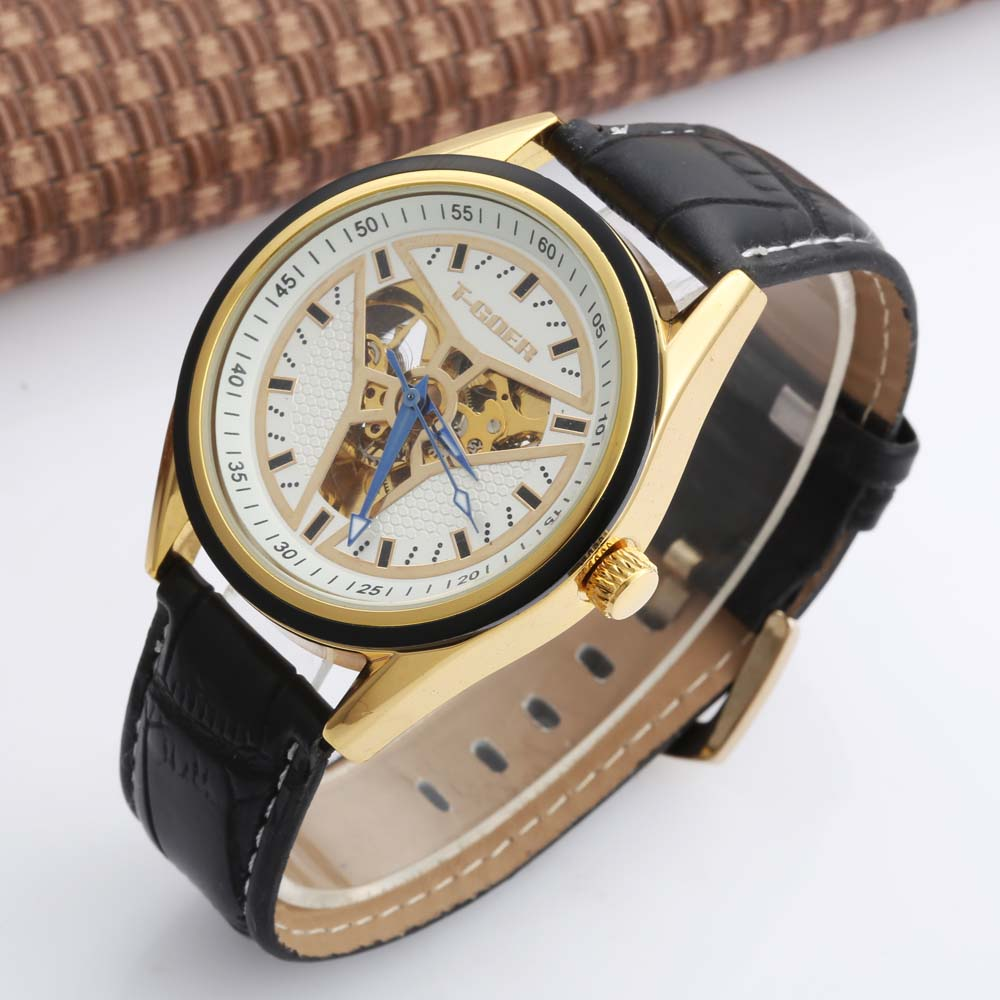 GOER Men Military Sport Clock Male Business Skeleton Clocks Automatic Mechanical Watches Top Brand Luxury Mens Wrist Watch mce sports mens watches top brand luxury genuine leather automatic mechanical men watch classic male clocks high quality watch