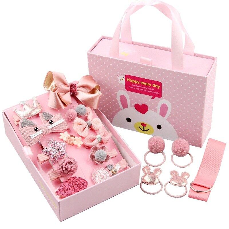 Mix 18pcs/box Ribbon Bow Rabbit Children Hairpins Cute Cartoon Hair clip Accessories Girls Princess Crown Barrette Headwear gift