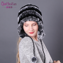 2019 Handmade Knitted Rex Rabbit Fur Beanies Hats Winter Warm Women Real Hat 100% Natural Cap