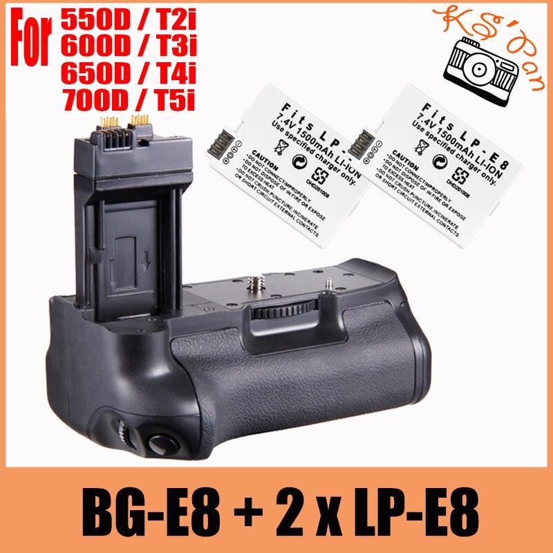 Nouveau support Vertical de poignée de batterie multi-puissance comme BG-E8 + 2x LP-E8 pour Canon EOS 700D 600D 550D 650D rebelle T2i T3i T4i T5i