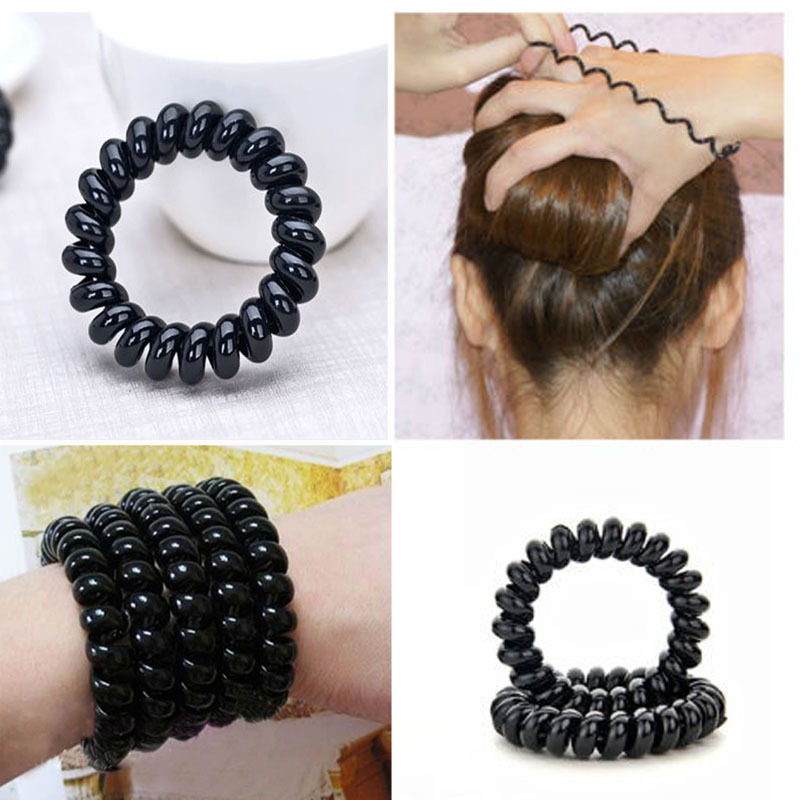 4PCS/lot Women Girls Hair Bands Black Elastic Rubber Telephone Wire Style Hair Ties Plastic Rope Hair Accessories Free Shipping 4pcs ponytail creator plastic diy hair styling tools black hair bands for girls hair braid accessories bun maker girls headbands