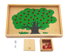 New Wooden Toy Baby Educational Montessori Toys Apple Tree Counting Learning Great Gift Free Shipping
