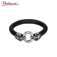 Beiliwol Braided Genuine Black Leather Skull Bracelets Bangles For Men Round 316L Stainless Steel Punk Jewelry