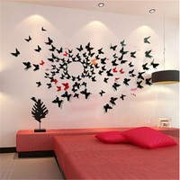 24Pcs/Lot PVC 3D DIY Butterfly Wall Stickers Home Decor Poster for Kitchen Room Adhesive to Wall Decals Decoration