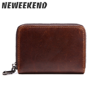 Genuine Leather Cowhide Small Mini Coin Purse Multi Pockets Zipper Bank Credit Card Holder Wallet Organizer LS0197