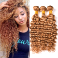 Blonde Deep Wave Brazilian Hair 3 Bundles Brazilian Deep Wave Virgin Hair #27 Honey Blonde Brazilian Deep Curly Weave Human Hair