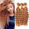 Blonde Deep Wave Brazilian Hair 3 Bundles Brazilian Deep Wave Virgin Hair #27 Honey Blonde Brazilian Deep Curly Weave Human Hair