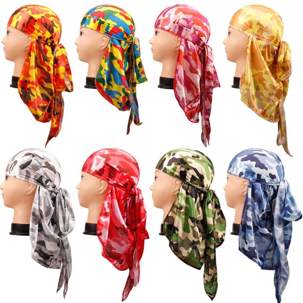 Камуфляжная шелковая бандана для мужчин, тюрбан с принтом унисекс, шелковые Durag, банданы для волос, аксессуары для волос