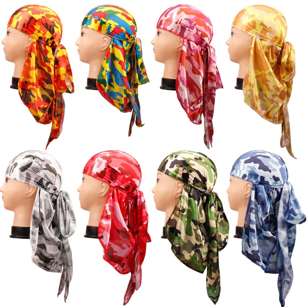 Hair Accessories Camo <font><b>Durag</b></font> Bandanas Headband Hats For Women <font><b>Men</b></font> Long Tail Pirate Hat Waves do doo du rag Turban Head Cover Cap image