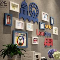 Lanskaya Creative American Style Solid Wood Frame Photo Wall Combination 3d Picture Frames Multi Frame Box
