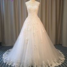 Fsuzwel O-neck Lace Up Pearls A-Line Wedding Dresses 2019