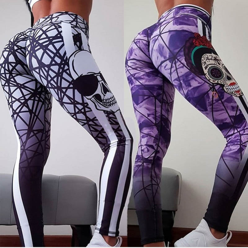 Yoga Pants Sport Leggings Women Fitness Gym Tights Skull Pattern Pants 3D Printing Elastic High Waist Yoga Leggings Running Pant image