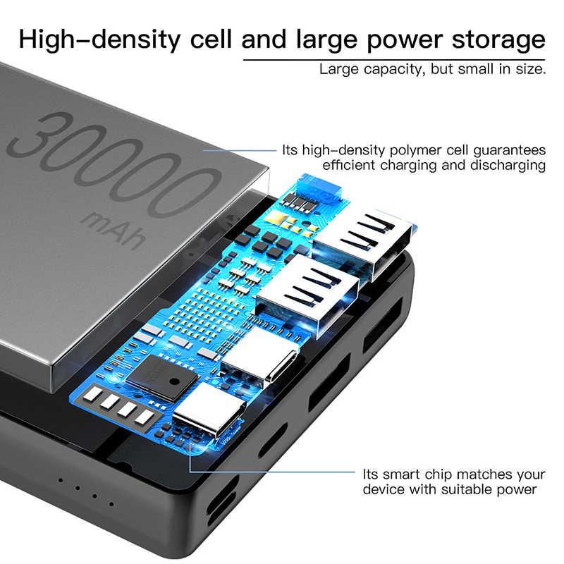 Baseus 30000mAh قوة البنك ل فون سامسونج Xiaomi تجدد Powerbank USB C PD سريع شحن بطارية خارجية حزمة حافظ طاقة USB