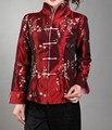 La moda de Nueva Borgoña mujeres Chinas de Satén de Seda Bordado Chaqueta Escudo Mujeres Chaqueta Flores Tamaño Sml XL XXL XXXL Mny02-C
