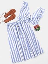 Two Piece Set V Neck Sleeveless Crop Top Striped Ruffle Button High Waist Skirts Suits Summer Women Sets