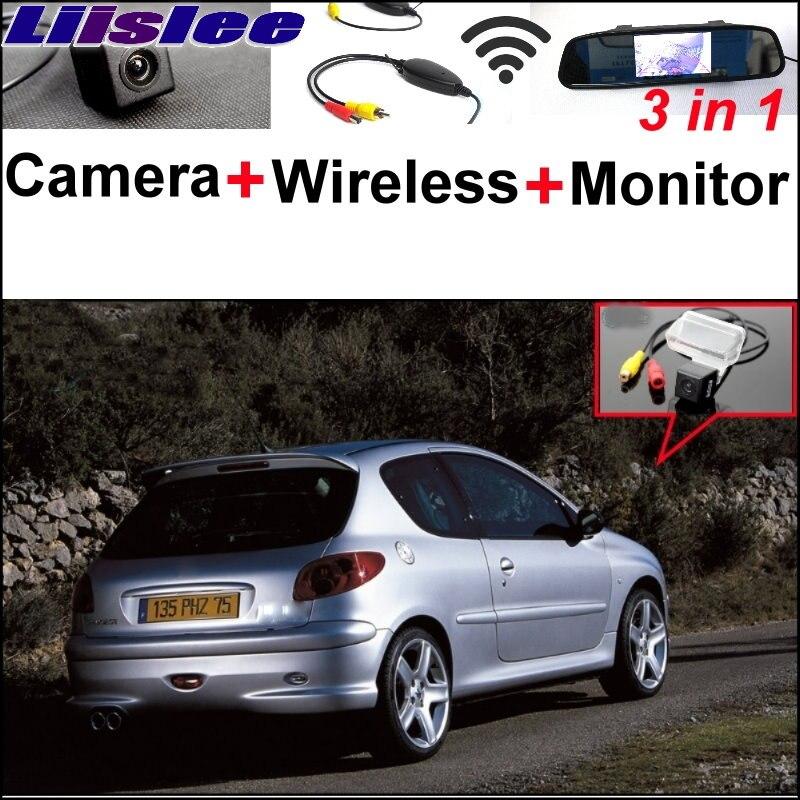 Liislee 3 in1 Caméra de Recul Spéciale + Récepteur Sans Fil + Moniteur de Miroir de Système de Stationnement Facile Pour Peugeot 206 207 306 307 308