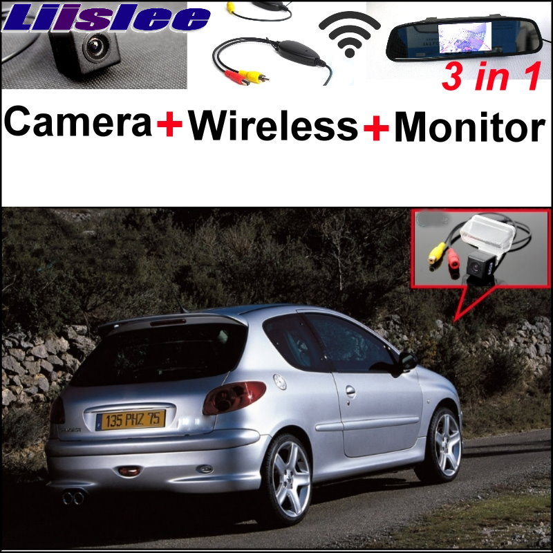 Liislee 3 in1 Special Rear View Camera + Wireless Receiver + Mirror Monitor Easy Parking System For Peugeot 206 207 306 307 308 liislee 3 in1 special rear view camera wireless receiver mirror monitor diy back up parking system for peugeot 607 806 807