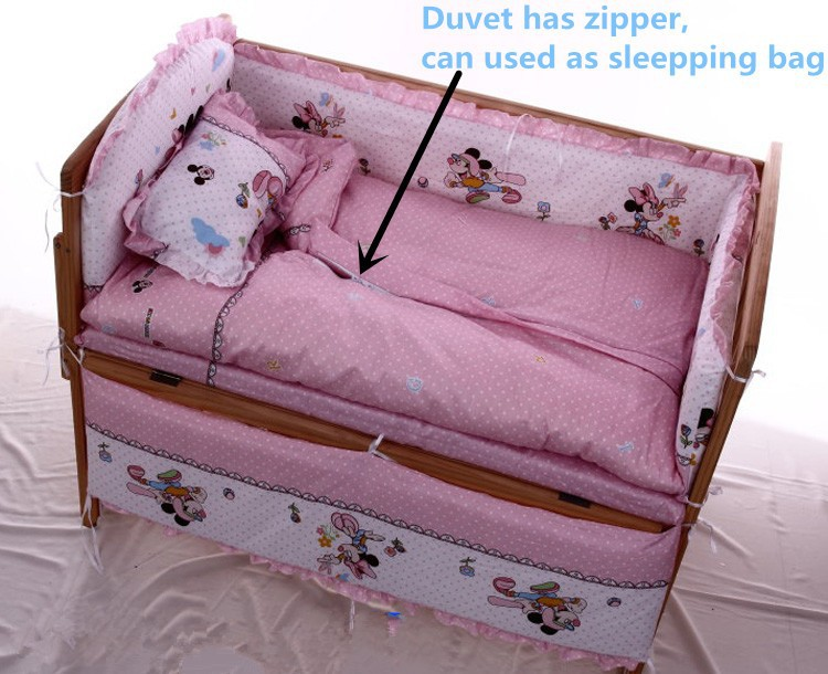 Promotion! 6PCS Cartoon baby Cot Crib bedding Set Baby Quilt Bumpers Sheet Dust Ruffle (3bumpers+matress+pillow+duvet) promotion 6 7pcs cot bedding set baby bedding set bumpers fitted sheet baby blanket 120 60 120 70cm
