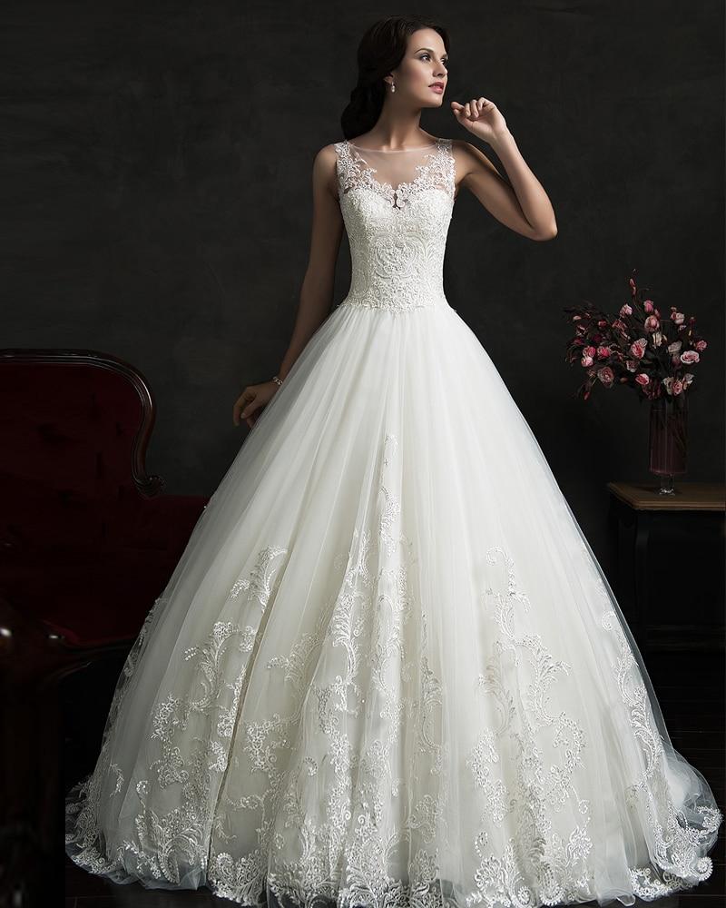 Vestido De Noiva Renda Vintage Lace Princess Wedding Dress 2015 Ball Gown White Wedding Dress