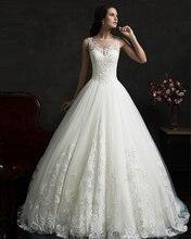 Vestido De Noiva Renda Vintage Lace Princess Wedding Dress 2015 Ball Gown White Wedding Dress Robe De Mariage 2015 Casamento
