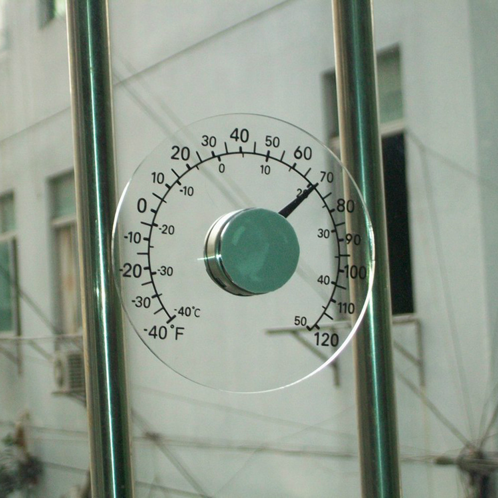 Round Design Stick on Transparent Plastic Outdoor Window Thermometer ...