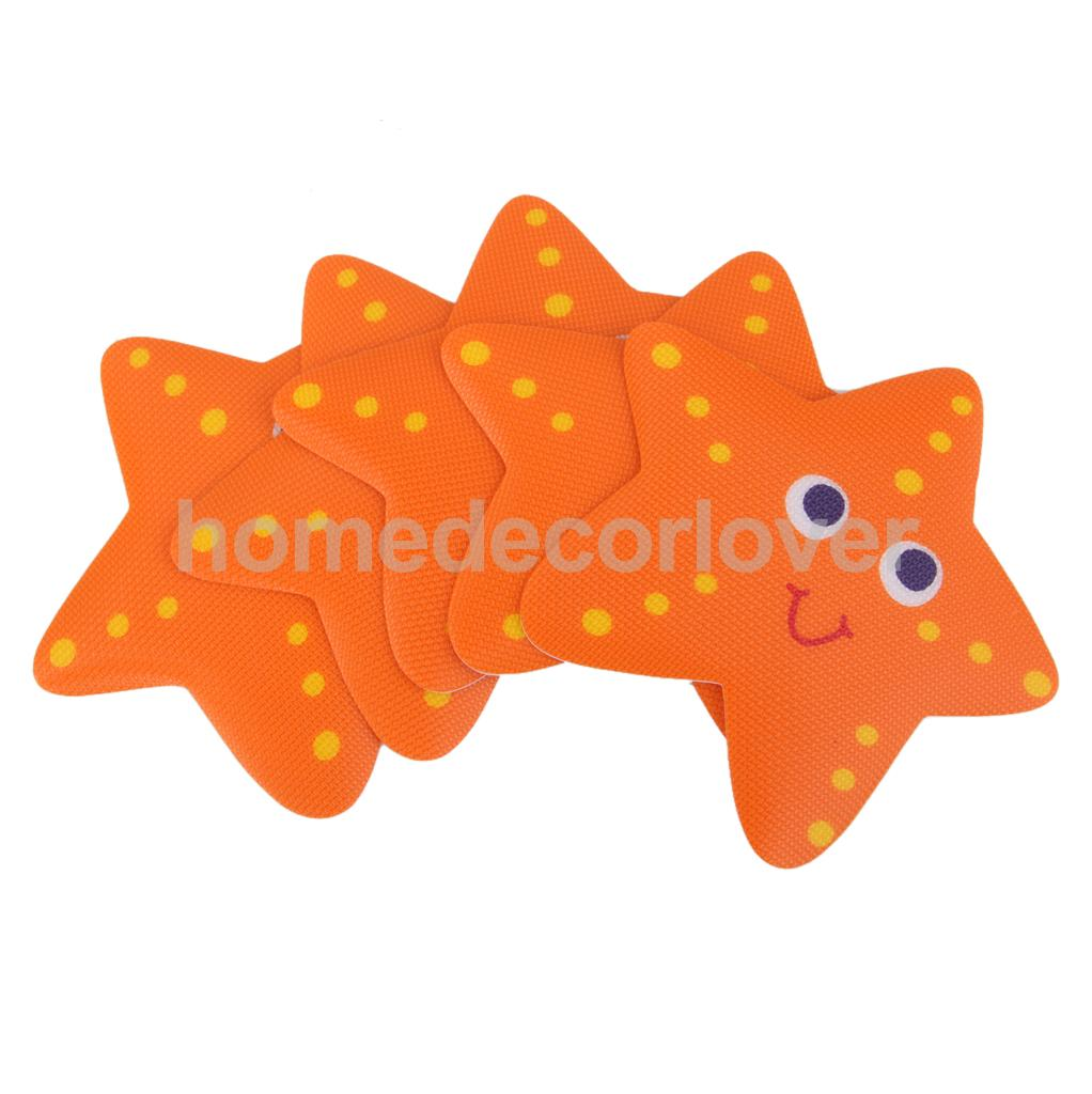 5x Bath Tub Non Slip Safety Treads Sticker Bathroom Applique Decal Starfish