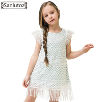 Sanlutoz Girl Lace Dress Summer Kids Clothes Casual Toddler Party Wedding Princess Fashion Brand