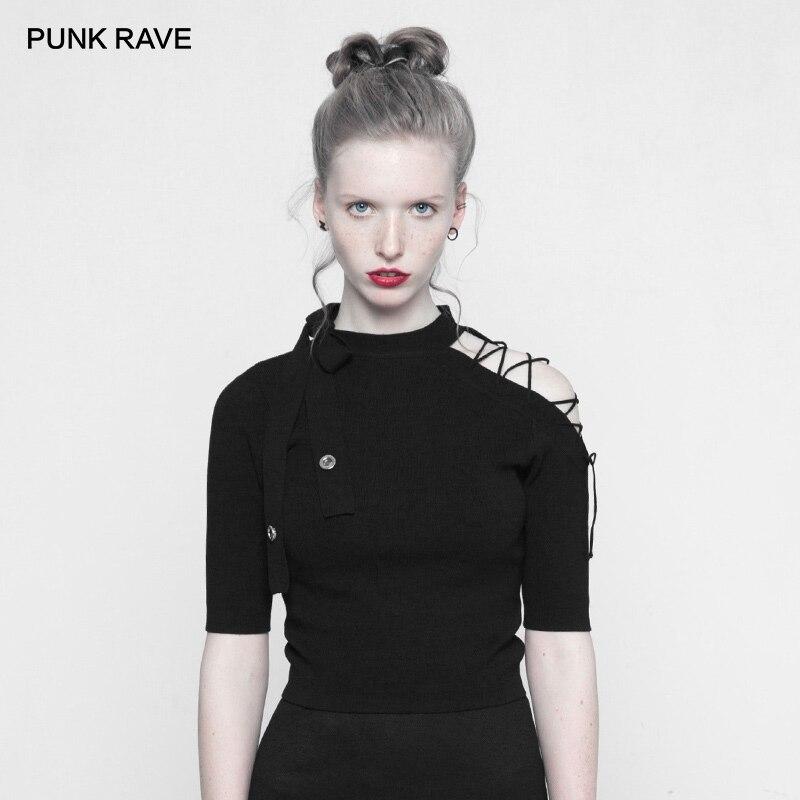 PUNK RAVE New Punk Style Women s Strapless Imitate Ice Silk Black T shirt Laced Half