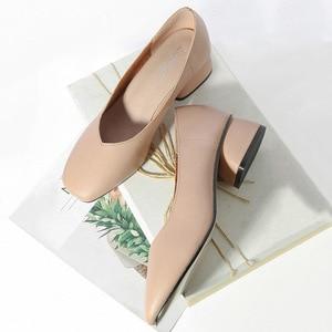 Image 3 - 2020 new arrive women pumps High quality Soft leather square toe fashion single shoes big size 34 40 N700
