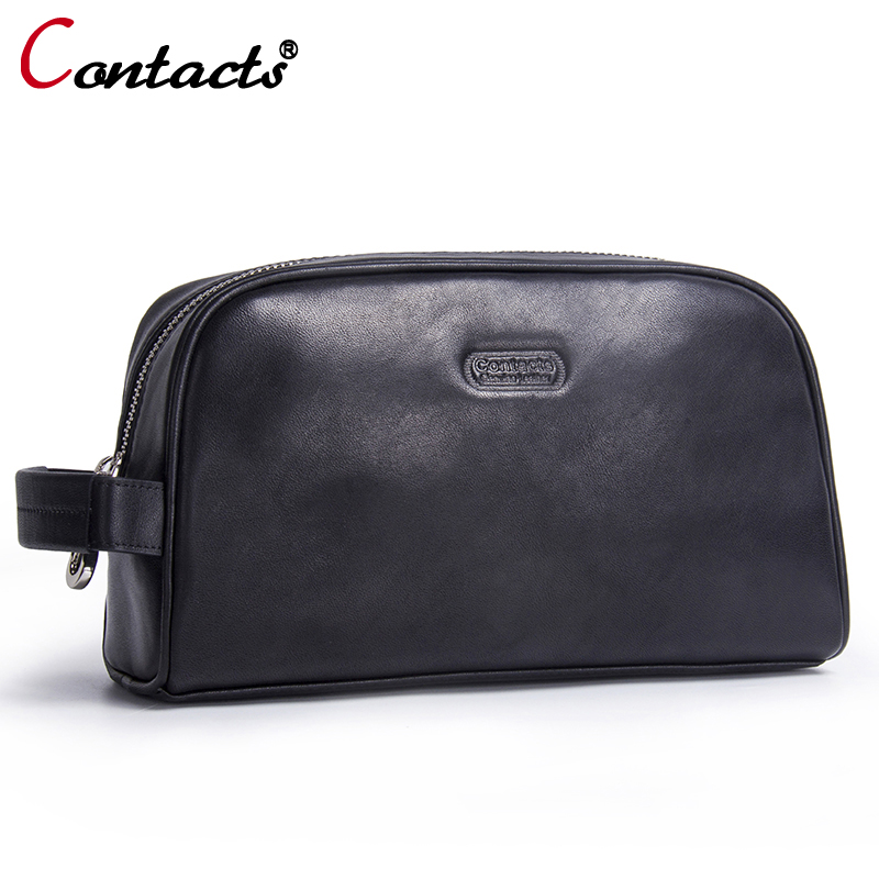 CONTACTS Genuine leather handbag women wrist male clutch female men clutch bags travel handbags designer Women Bag Day Clutches
