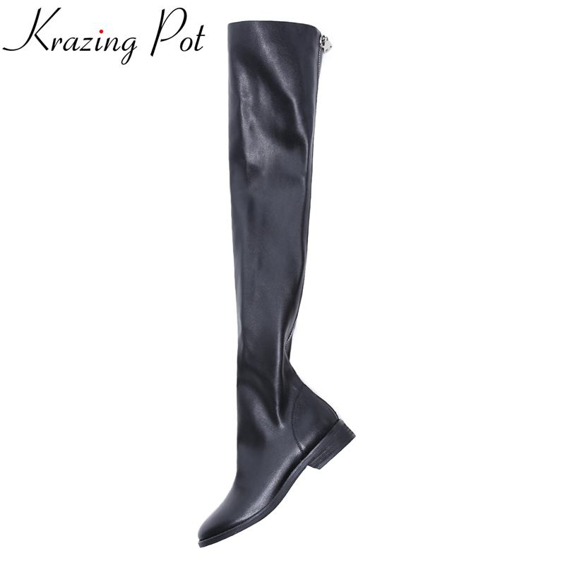 Krazing Pot new arrival round toe thick heel fashion boots runway winter shoes thigh high boots women over-the-knee boots L99 nayiduyun new fashion thigh high boots women genuine leather round toe knee high boots high heel party pumps casual shoes