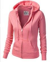 Fashion ladies Sweatshirts Solid Color Hooded Jacket Long Sleeve Women's Hoodie  Zipper Fall Winter ladies Coat