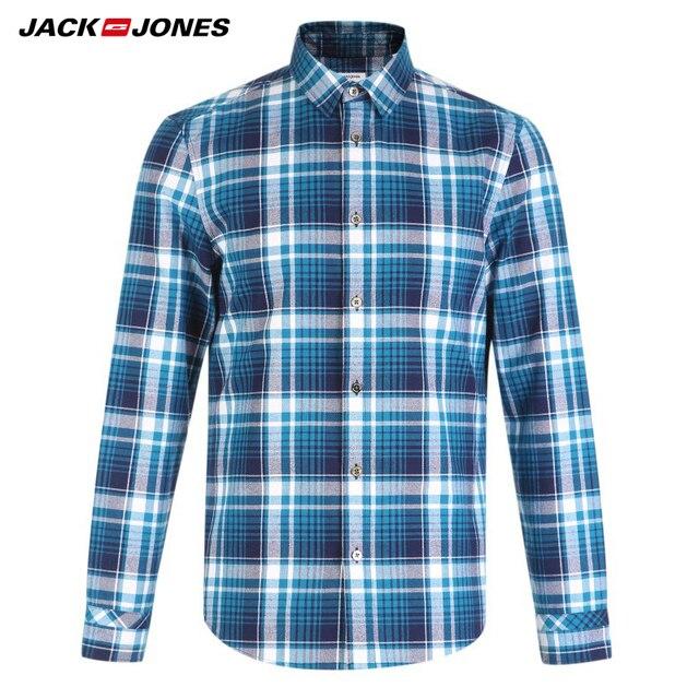 Jack Jones COTTON 100% fashion casual slim fit version multicolor plaid long sleeve top men shirts| 216405518 3