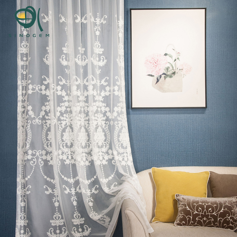 Sinogem White Embroidered Voile Curtains Bedroom Sheer For Living Room Tulle Window Panels