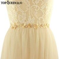 TOPQUEEN SH110 Cinture Da Sposa con Perle e Oro Foglie di Nozze Sash Cintura per Gli Accessori Da Sposa Sposa Cinture sul vestito