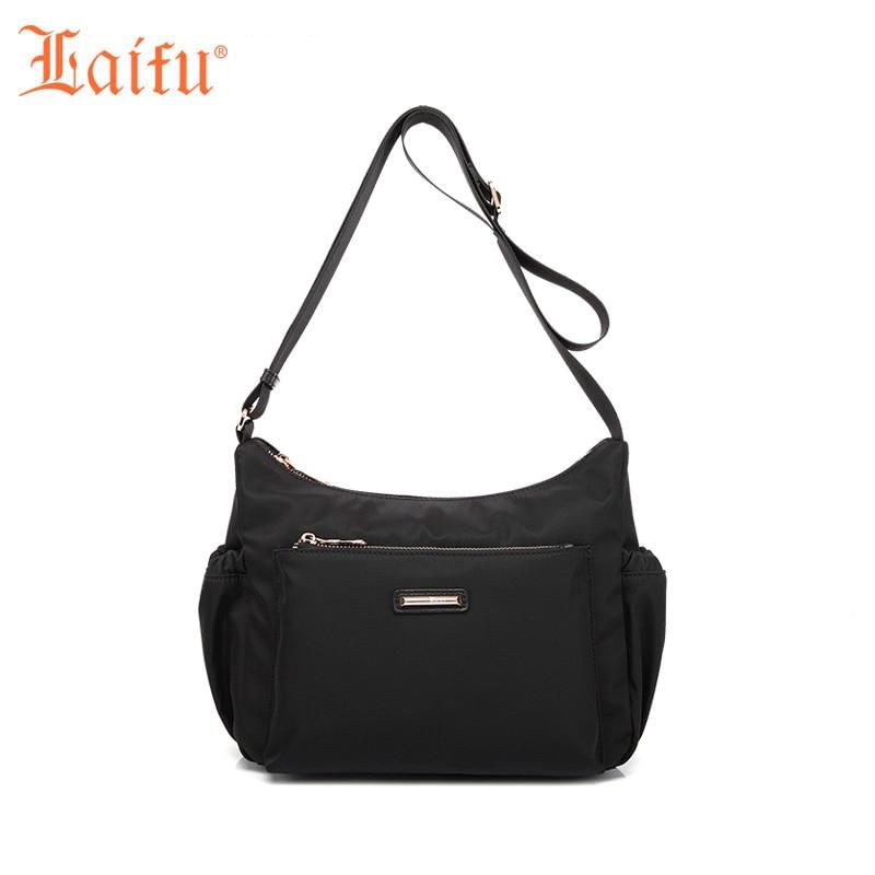 Laifu Designer Women Nylon Shoulder Bag Fashion Female Crossbody Bag Teenage Girls Messenger Bag (Black, Purple)