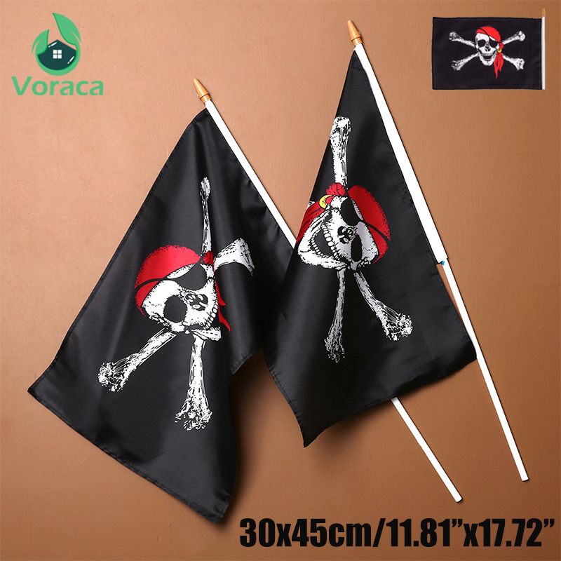 30X45CM Pirate Flags With Flagpole Pirate Pattern Halloween Party Car Banner Home Decorations Outdoor Hand Hanging Flag