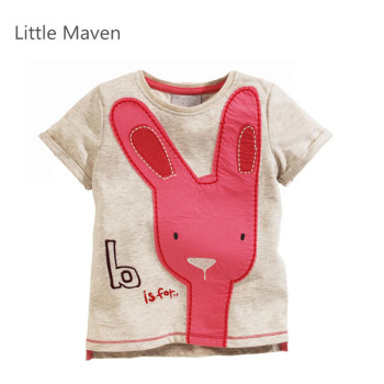 Little Maven Brand New Summer Girls Lovely Pink Long Ears Rabbit Short Sleeve O-neck Soft Knitted Cotton Causal TShirt