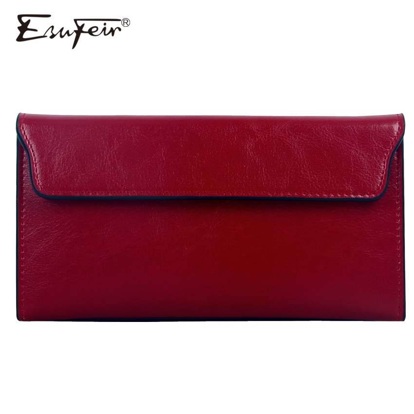 ESUFEIR Brand 2017 Fashion Genuine Leather Women Wallet Long Cowhide Multiple Cards Holder Clutch Female Purse Standard Wallets