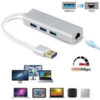 3 Ports USB 3.0 Gigabit Ethernet Lan RJ45 Network Adapter Hub to 1000Mbps Mac PC Gigabit USB3.0 Ethernet Adapter 3B24