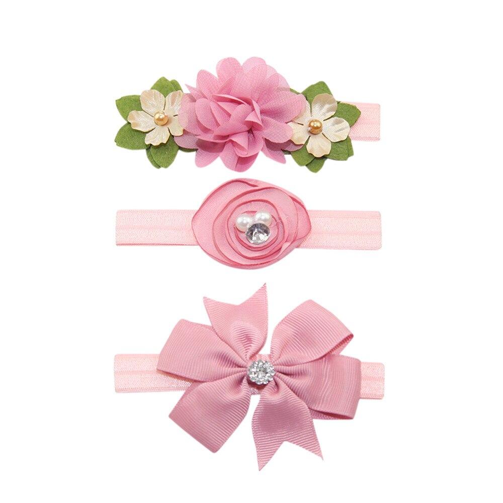 2019 Neuer Stil Muqgew 3 Stücke Baby Stirnbänder Kinder Elastische Floral Stirnband Perle Haar Mädchen Baby Bowknot Haarband Set Baby Zubehör #30
