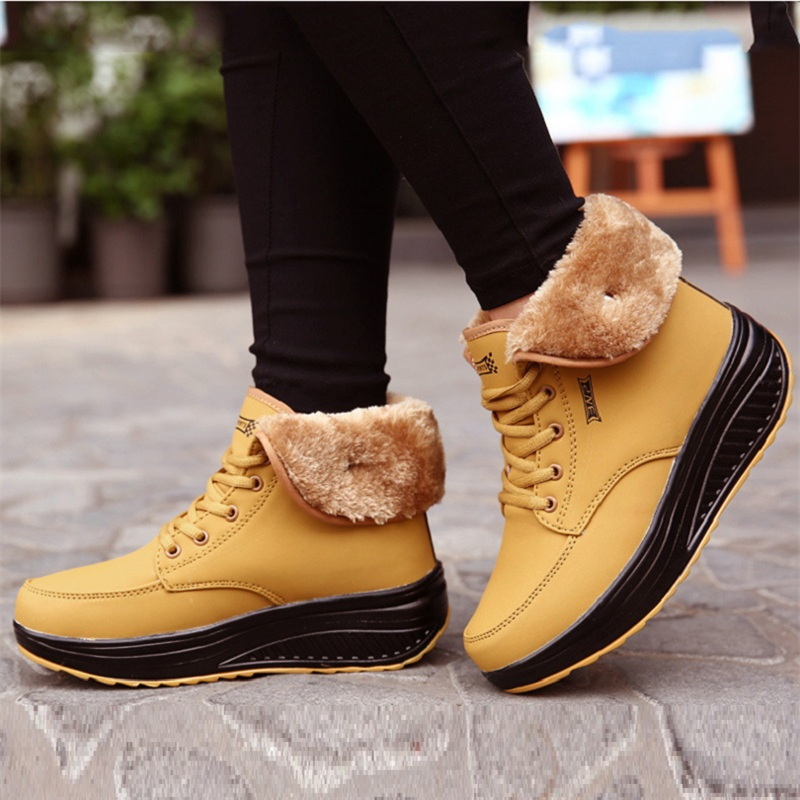 Fashion Women Snow Boots Female Lace Up Platform Sneakers Winter Ankle Boots Wedges Warm Plush Chaussure Femme children s clothing girls winter down jacket 2018 baby kids long fur hooded thick outerwear toddler girl warm padded cotton coat