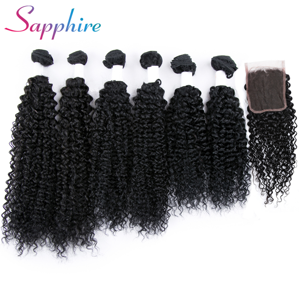 Sapphire kinky straight human hair bundles with lace closrue with free top closure 2 2 length