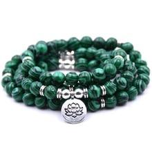 Горячая 8 мм натуральный зеленый малахитовый камень 108 мала бусины с йогой лотоса Шарм кулон мужчины или женщины Исцеление йогой браслет