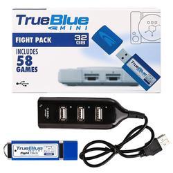 HOBBYINRC cierto azul Mini lucha paquete para PlayStation clásico (58 juegos) v3 juegos de accesorios con un mini hub USB