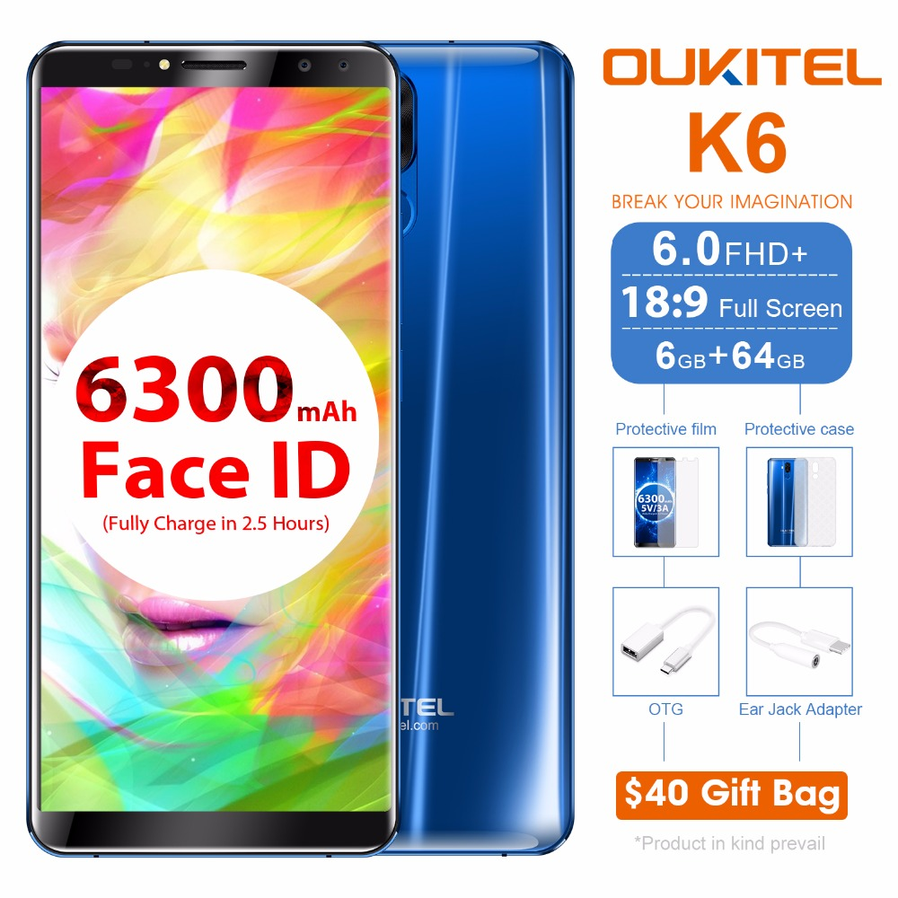 Oukitel K6 6.0 Inch 18:9 Full Screen 4G Smartphone MT6763 Octa Core Android 7.1 6GB RAM 64GB ROM 21MP+8MP Face ID 6300mAh NFC ...