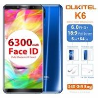 Oukitel K6 6.0 pulgadas 18:9 Pantalla Completa 4G smartphone mt6763 octa Core Android 7.1 6 GB RAM 64 GB rom 21mp + 8mp Cara ID 6300 mAh NFC