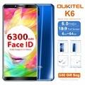Oukitel K6 6.0 Inch 18:9 Full Screen 4G Smartphone MT6763 Octa Core Android 7.1 6GB RAM 64GB ROM 21MP+8MP Face ID 6300mAh NFC