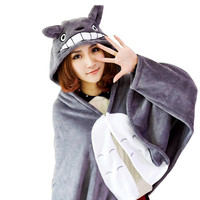 Plush Toy Totoro Mantissas Cape Lounged Blanket Air Conditioning Blanket Dual Coral Fleece Free Shipping 1Pcs