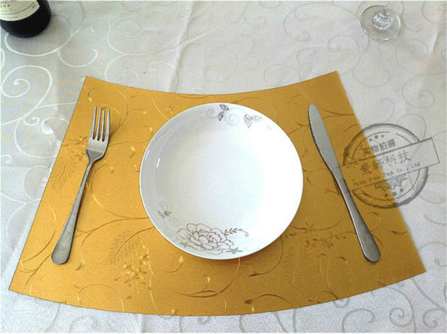 Upscale Restaurant Wedge Reversible Kitchen Gold Washable Cafe Durable Round  Tables Mats Placemat Insulation Pad Dining